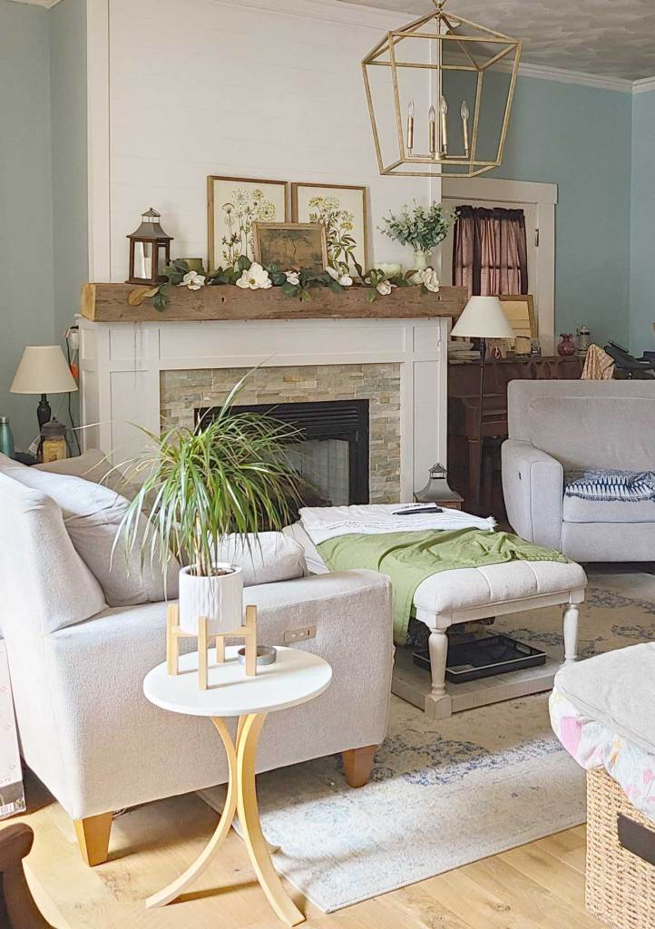 family room decor in greens