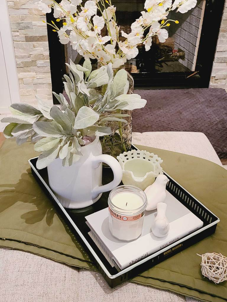 spring family room decor coffee table