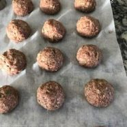 Meatballs on parchment paper