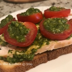 Pesto Roast Chicken & Tomato Lunch on toasted bread