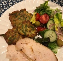 Rotisserie Chicken with Asparagus Patties & Salad
