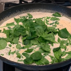 Add the chopped fresh spinach