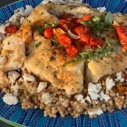 Platter of Cod over Couscous Mediterranean Style