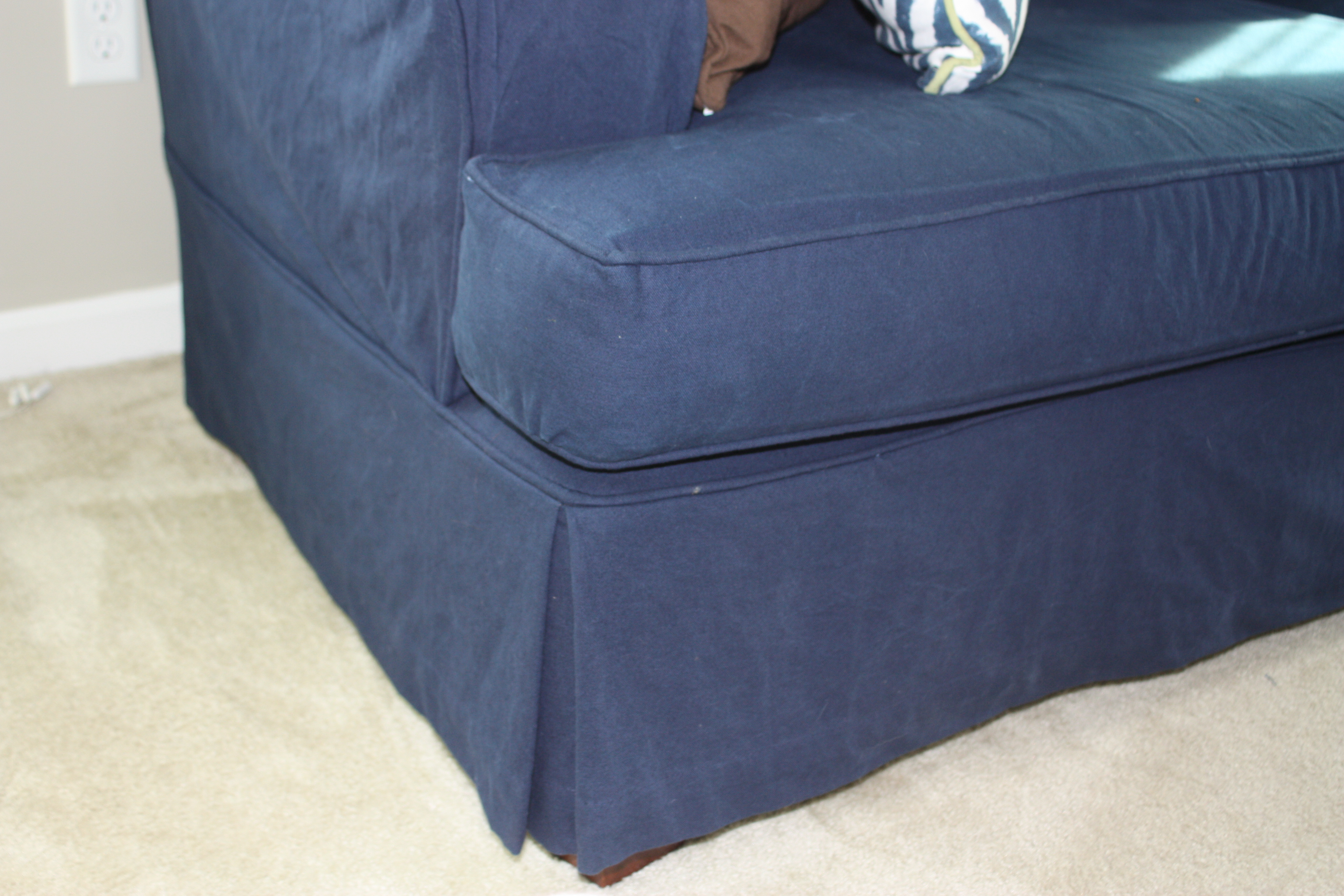 Blue Denim Sofa Slipcover With Ties