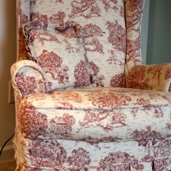 Red Wingback Chair Slipcover Small Scale Leather Club Chairs Toile Wing Twill Studio