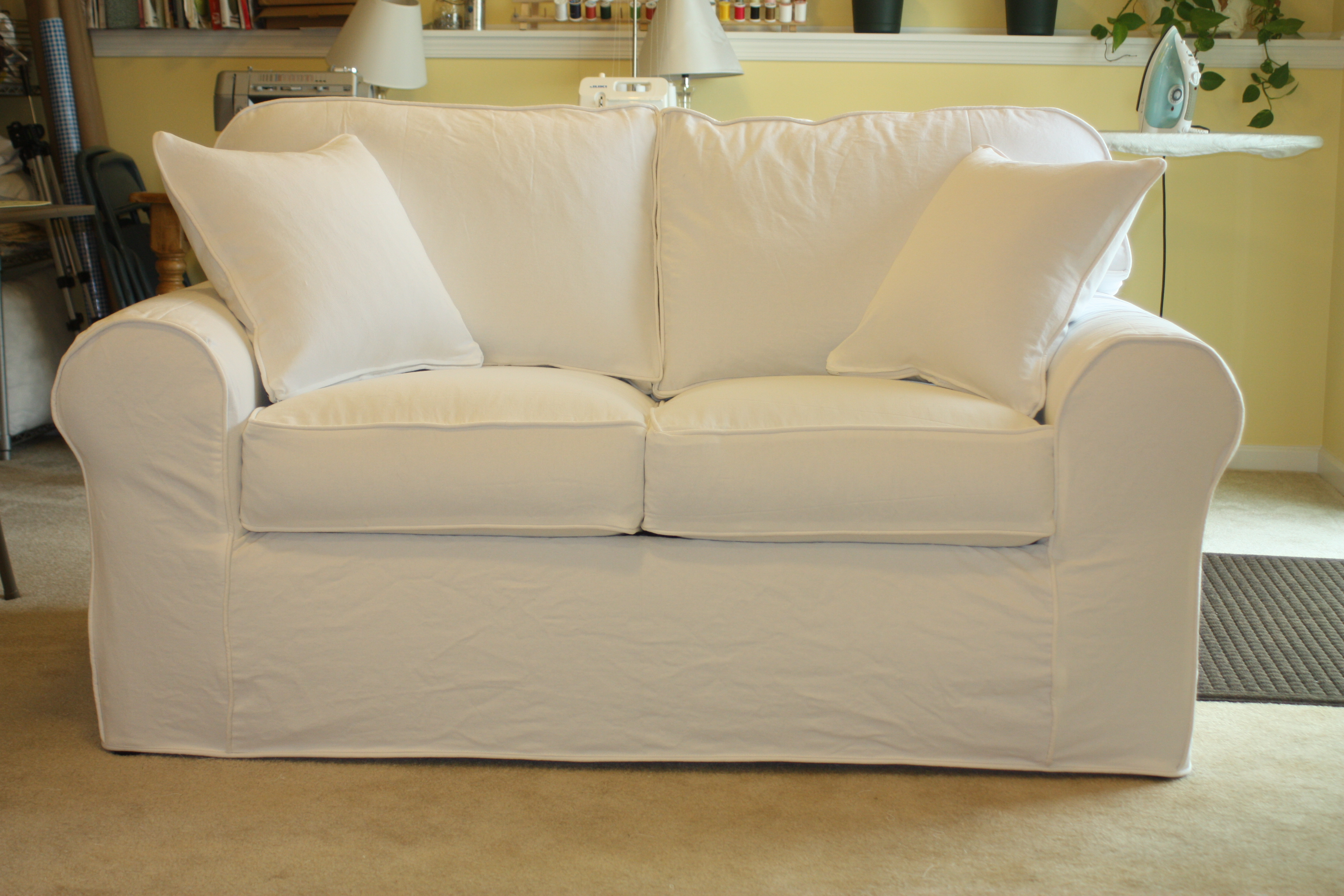 white denim sofa covers matching and end tables loveseat twill slipcover studio