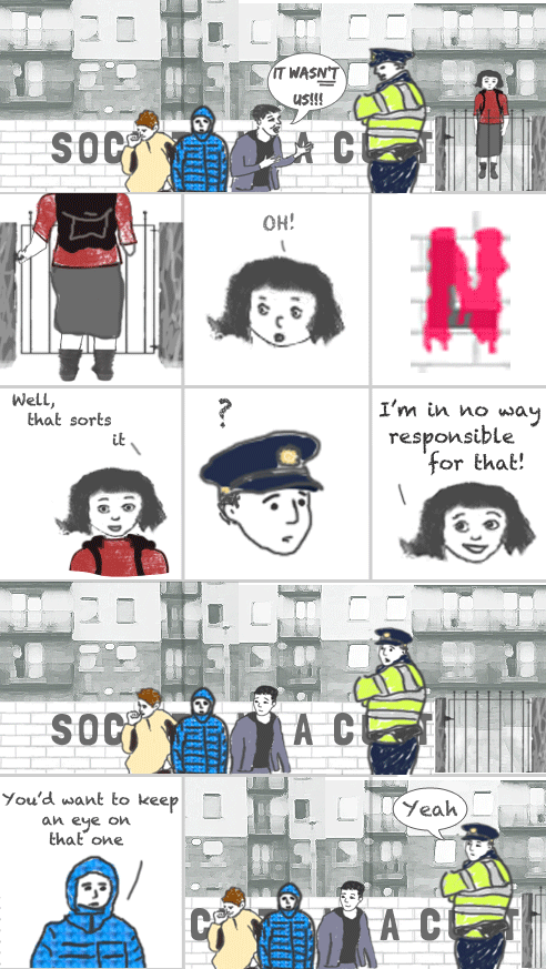 twimii is walking out of her apartment. There is a garda (police officer) outside her gate taking to three boys. One of the boys is saying angrily 'It wasnt us!!!'. twimii is closing the gate behind her, she looks at the wall and gasps 'OH!'. The L has been changed to an N. twimii happily says to herself 'well, that sorts it'. The garda turns around and looks at her puzzled. She looks up at him and says delightedly 'I am in no way responsible for that!'. She then walks off on her way. The garda and the three boys stare after her in amazement. One of the boys then says to the garda 'You'd want to keep an eye on that one' The garda's eyes narrow as he watches twimii and he says 'Yeah'.