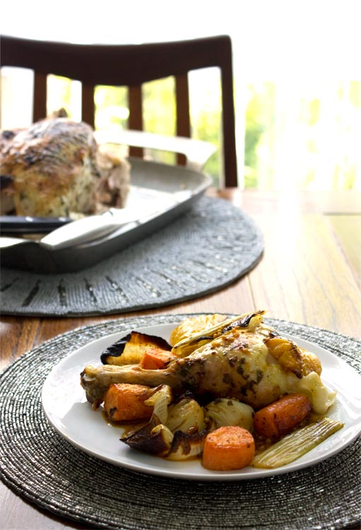 Mint-Lemon-Garlic Chicken with roasted vegetables.