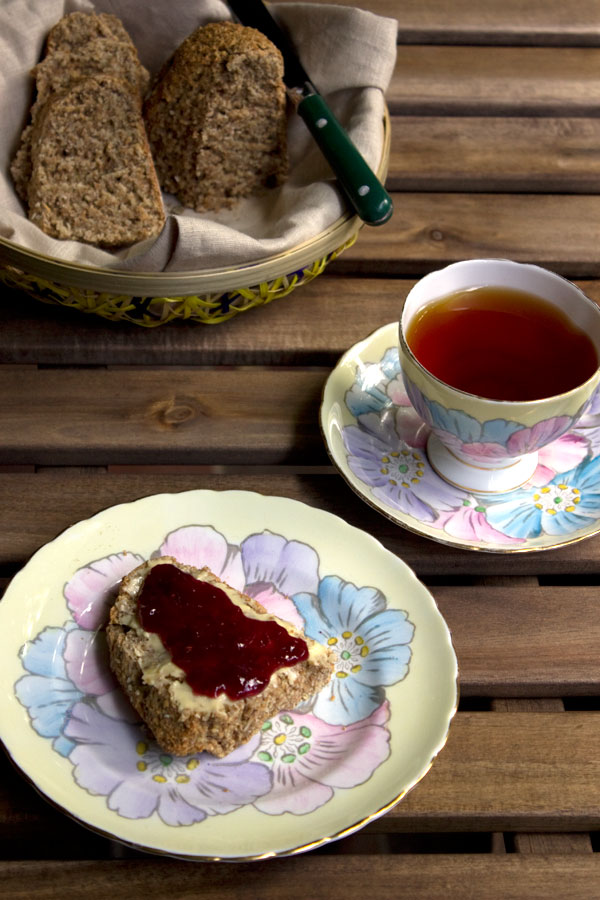 brown bread with butter and jam
