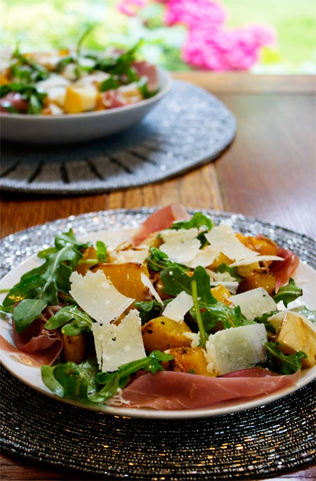 warm salad of roasted squash, prosciutto and pecorino