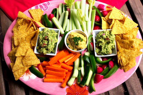 guacamole and hummus