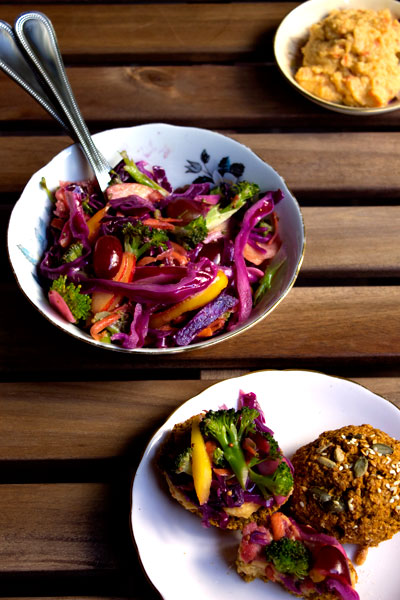 rainbow slaw and vegan scones