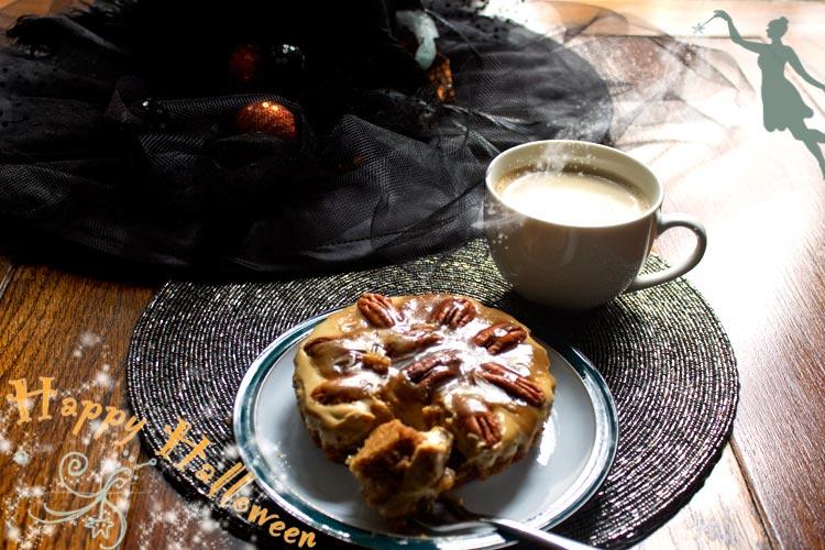 happy-halloween with bitter toffee pecan pie