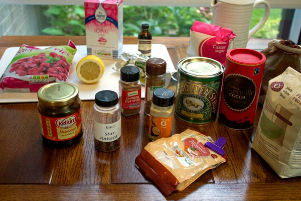 ingredients for liquorice cake and raspberry ganache