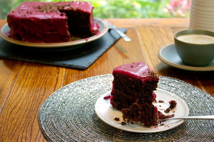 Gluten-free Liquorice Cake with Raspberry Ganache