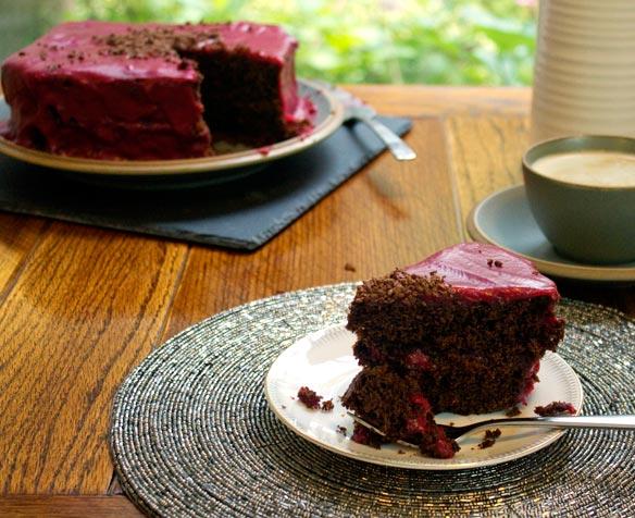 licorice cake with raspberry ganache