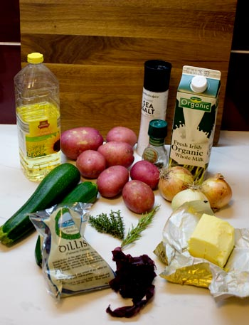 ingredients for potato, courgette and onion soup