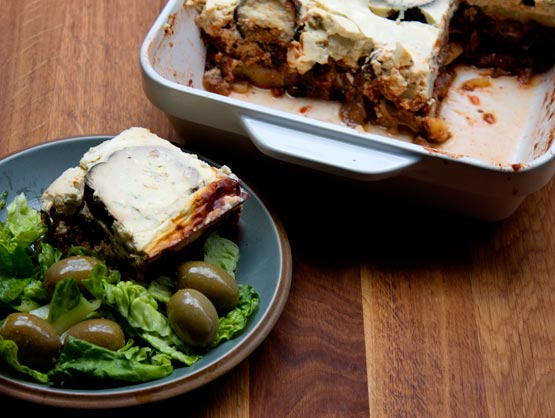 vegetarian moussaka with side salad