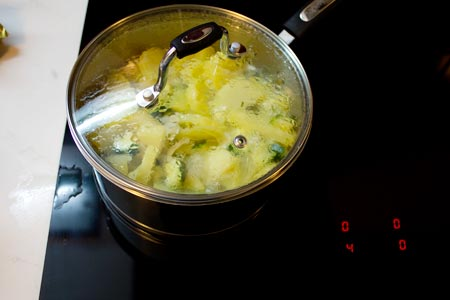 simmer the potato, onion and courgette