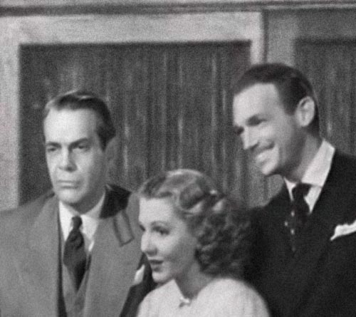 Raymond Massey, Jean Arthur and Douglas Fairbanks Jr