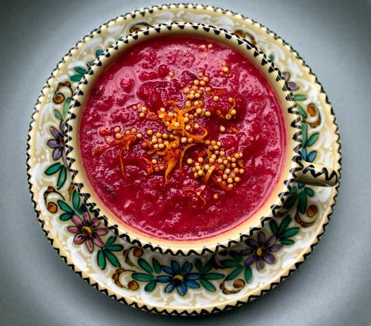 Beetroot, orange and mustard soup