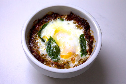 baked egg out of the oven