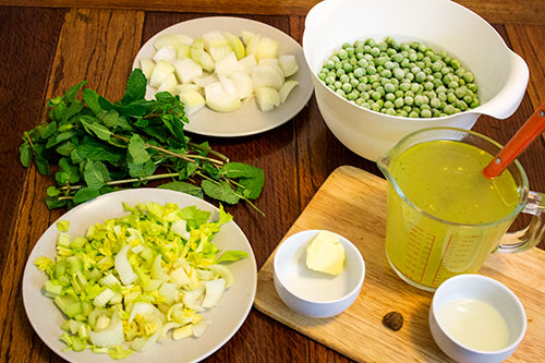 ingredients for easy peasy pea mint soup