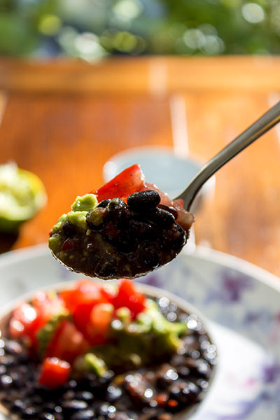 some black beans with guacamole
