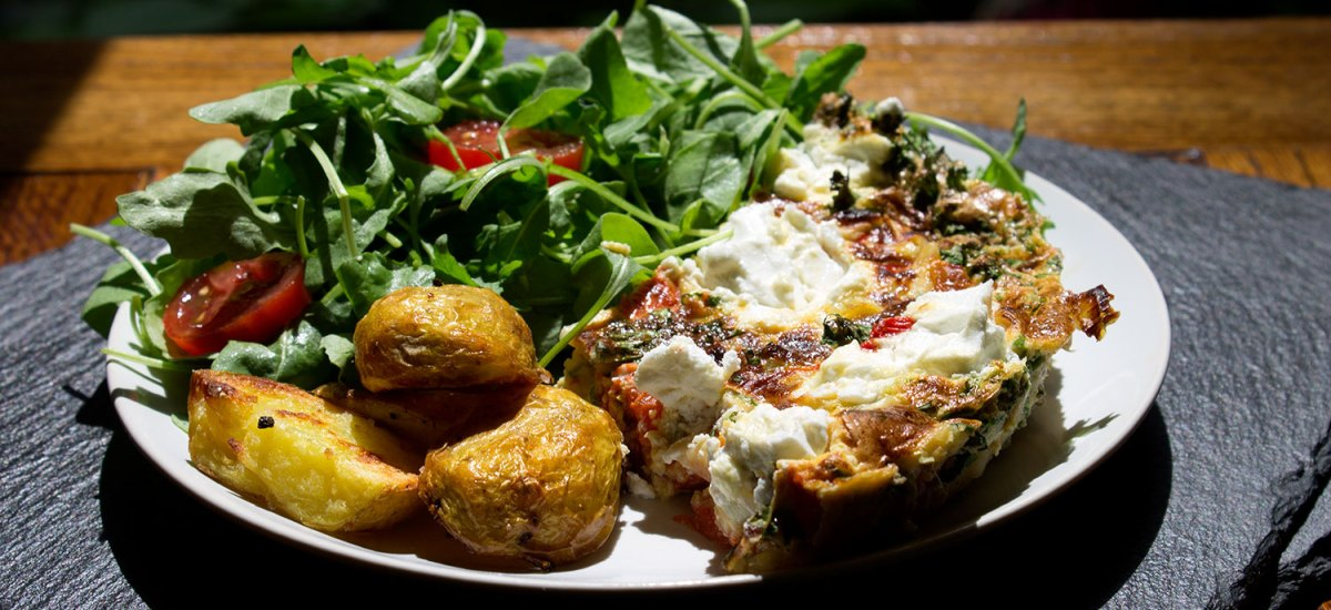 Tarragon, Roasted Peppers and Goat's Cheese Frittata