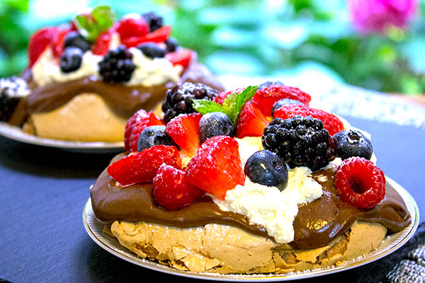 forest fruits chocolate meringues