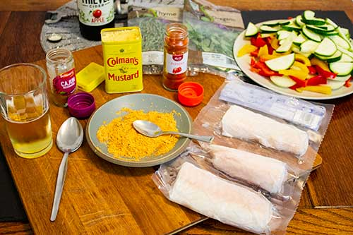 ingredients for cod baked in cider and spices