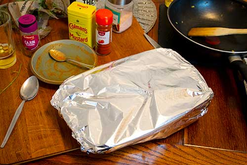 dish covered in tin foil