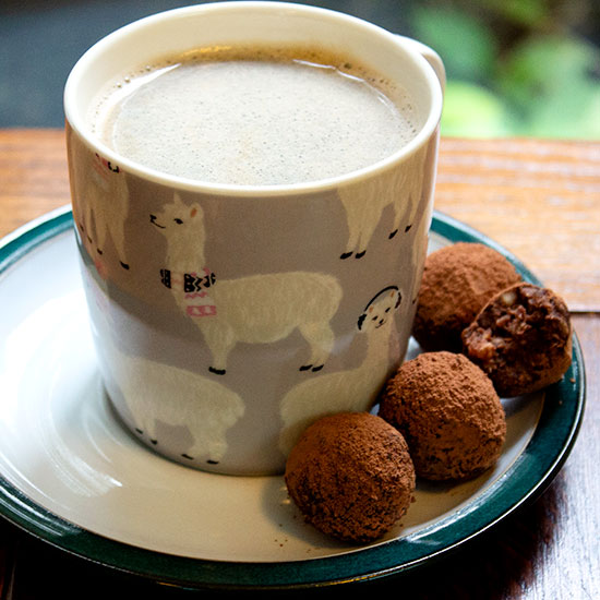 salty chocolate date and almond balls with coffee