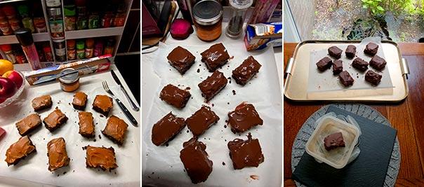 Assembling flourless caramel chocolate cake bars