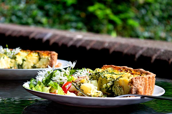 Gluten free wild garlic quiche with salad