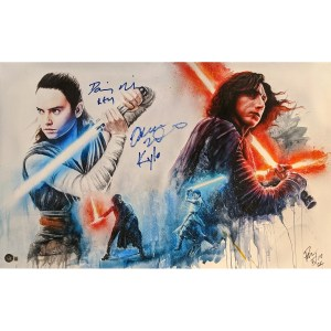 Rob Prior Star Wars print signed by Daisy Ridley and Adam Driver
