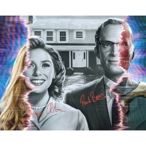 Elizabeth Olsen and Paul Bettany Signed WandaVision 16x20 #1