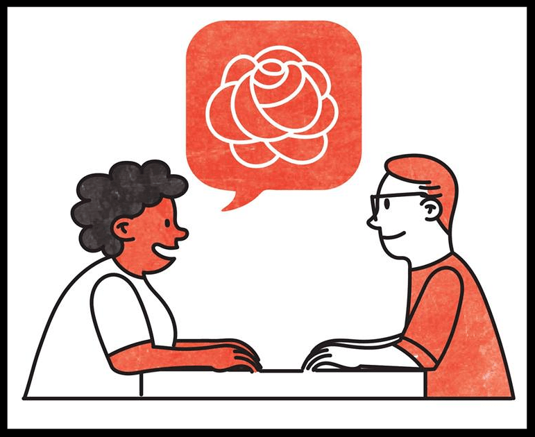 A comic panel of two people sitting on a table, facing each other, smiling, and talking. A speech bubble from one person contains an image of a rose.