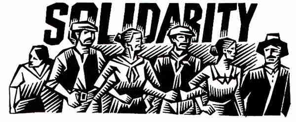 "A black and white illustration of a group of people linking arms, with the word ""solidarity"" behind them."