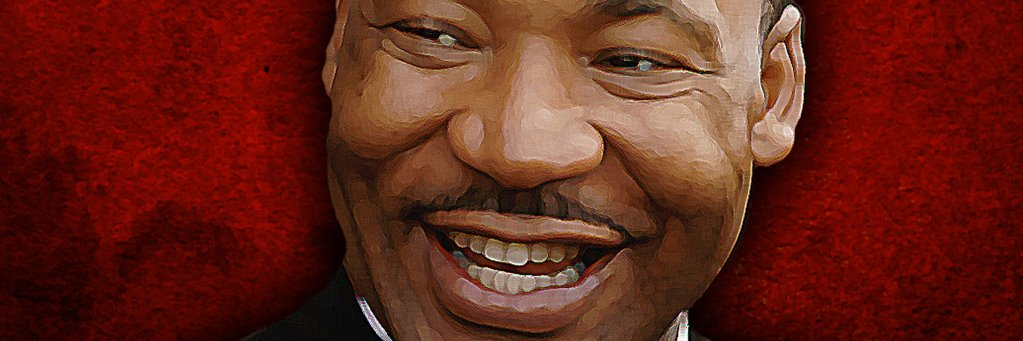 An illustration of Martin Luther King, Jr. smiling.