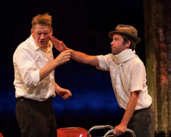 Levi Weinhagen and Joshua English Scrimshaw  in The Gentlemen's Pratfall Club. Photo provided by http://comedy-suitcase.com.