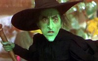 The green wicked witch of the west with a serious expression.