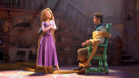 Rapunzel holds her suitor hostage when he scares the hell out of her.