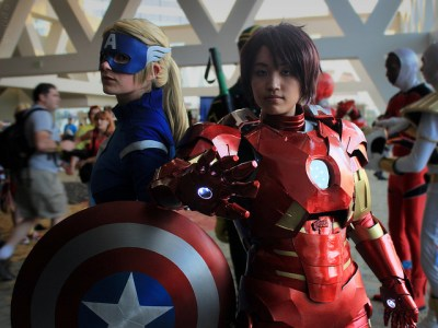 Female cosplayers dressed up as genderbent versions of Captain America and Iron Man