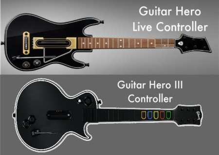 Comparison image showing the old and new Guitar Hero controllers