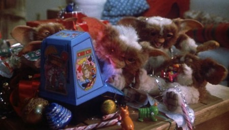Donkey Kong Mini Card Gremlins 1984 with gremlins and various Christmas ornaments, candy canes, etc strewn about.