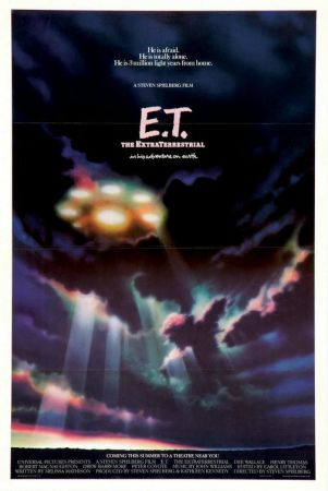 The Words: He is afraid. He is totally alone. He is 1 million light years from hom. A steven spielberg film E.T The Extraterrestrial. There's a spaceship with 5 small lights encircling a larger light meant to be the bottom of a spaceship beaming through the clouds.
