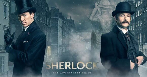 Sherlock on the left, Watson on the right, Sherlock: The Abominable Bride center bottom. They're clearly in Victorian London