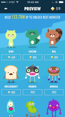 A blue screenshot of the next monsters to unlock. which look like kitty, raccoon, fox, sandwich, and monsters. Some are free, some cost. They have names like kiki, cocon, rel, unclebaky, and others.