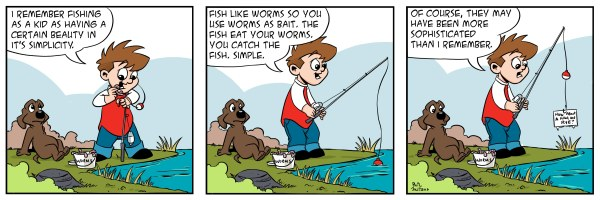 [comic with three panels about a little boy fishing and catching a piece of paper instead of a fish